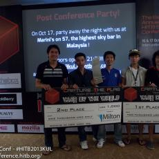 """Don't spend it all in one place guys!"" - 1st and 2nd place winners from Vietnam with their mock cheques sponsored by Milton Security Group"